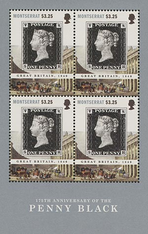 2015 $3.25 175th Anniversary of the Penny Black Sheet of 4