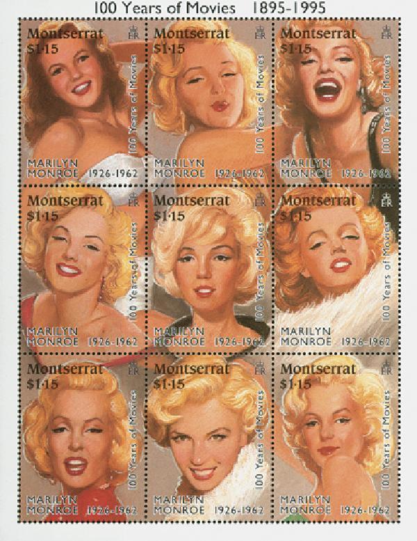 """1995 Montserrat #860a-i """"Marilyn Monroe"""""""