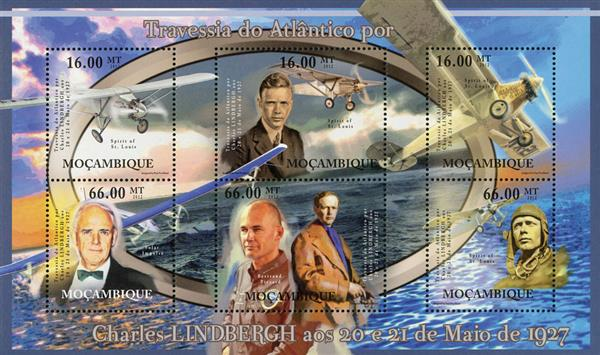 2012 $16 Spirit of St Louis, Crossing the Atlantic, Mint Sheet of 6 Stamps, Mozambique