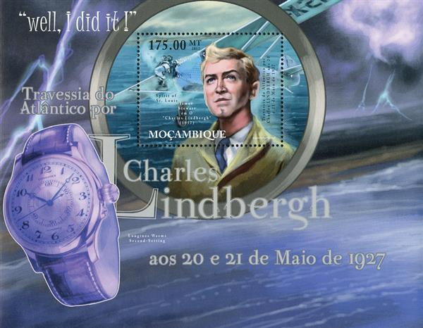2012 $175 Charles Lindbergh, Crossing the Atlantic, Mint Souvenir Sheet, Mozambique