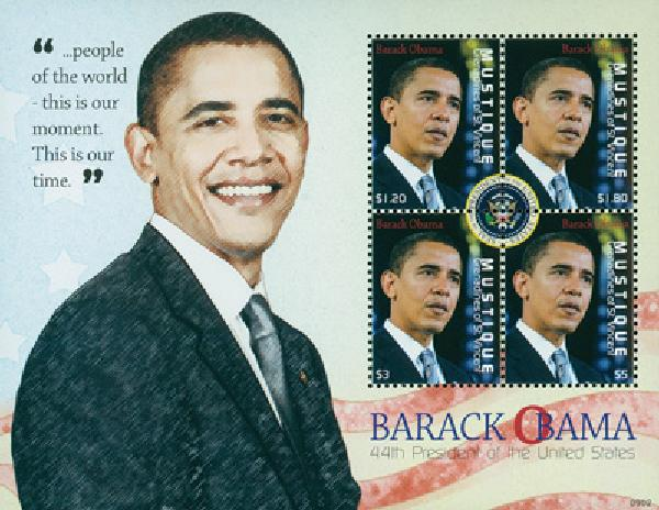 2009 President Barack Obama, 4 Stamps, Mint, Mustique