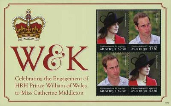 2010 Mustique William & Kate 4v Mint