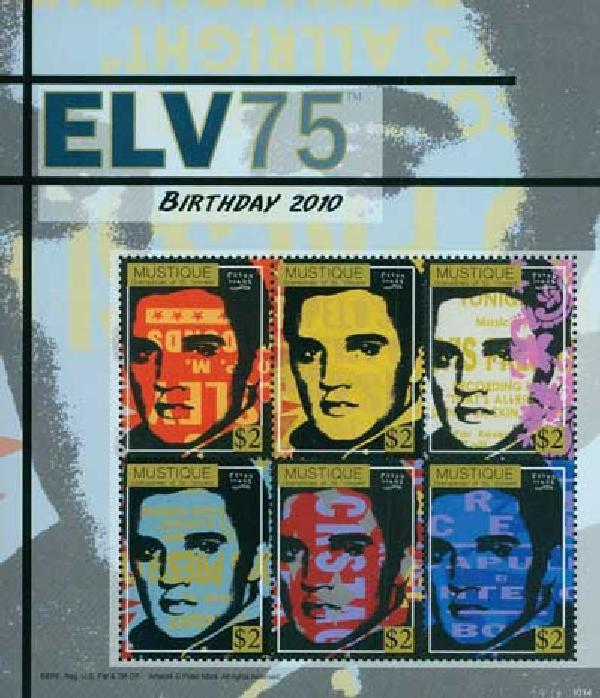 2010 Mustique Elvis Presley 6v Mint