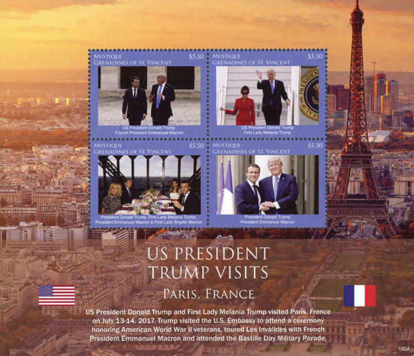 2018 President Trump Visits Paris, France, Mint Sheet of 4 Stamps