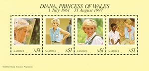 Diana, Princess of Wales, Mint Sheet of 4 Stamps, Namibia