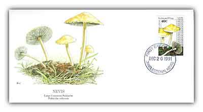 1992 Nevis 40c Psilocybe Cubensis Mushroom