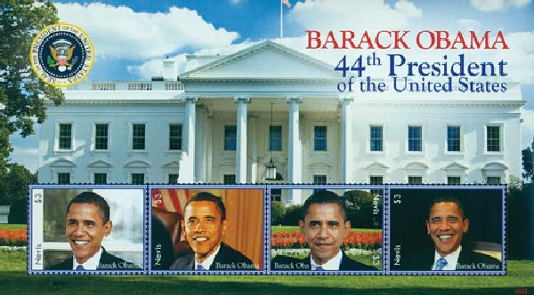 2009 President Barack Obama, 4 Stamps, Mint, Nevis