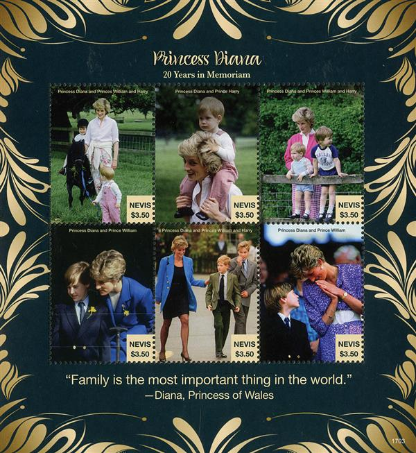 2017 $3.50 Princess Diana with William & Harry - 20 Years in Memoriam sheet of 6