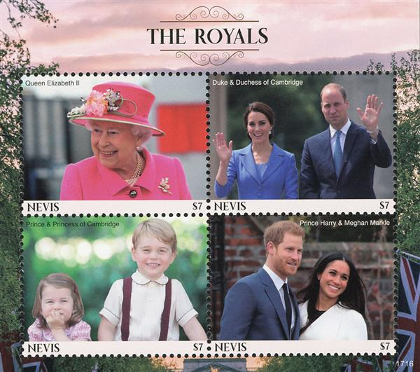 2017 $7 Queen Elizabeth II, The Royals sheet of 4 stamps