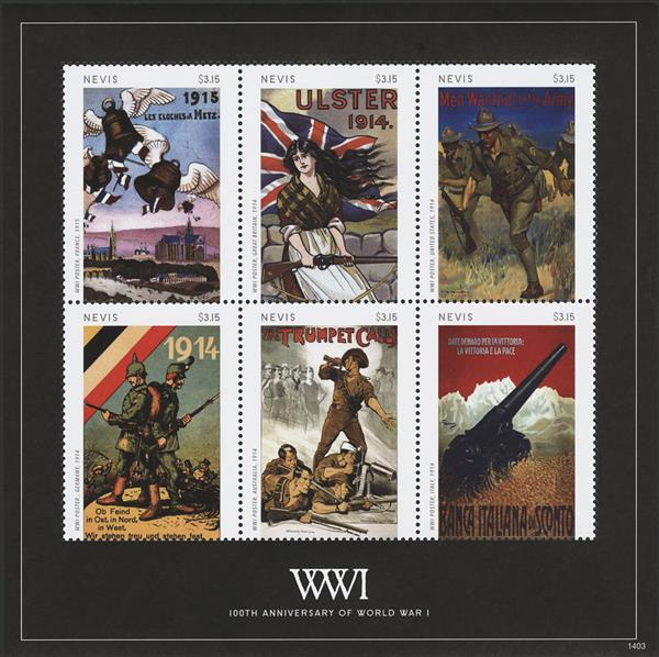 2014 $3.15 World War I Poster Commemorating the 100th Anniversary; Sheet of 6