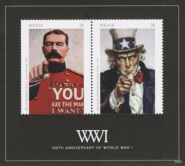 "2014 $5 100th Anniversary of World War I; ""I Want You""; Souvenir Sheet of 2"