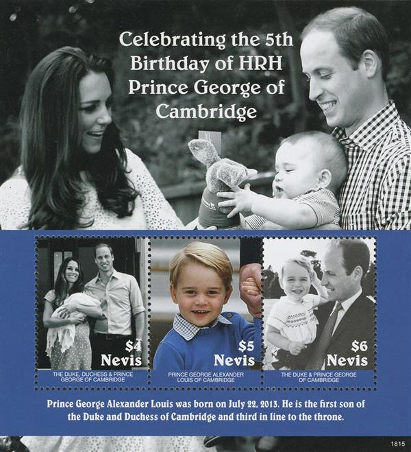 2018 $4 Fifth Birthday of Prince George sheet of 3 stamps