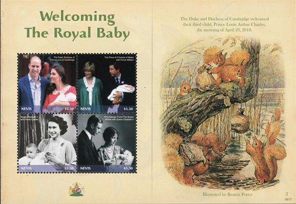 2018 $5.50 Welcoming the Royal Baby: Illustration by Beatrix Potter sheet of 4 stamps
