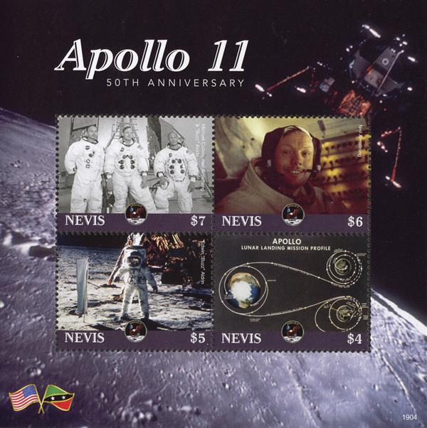 2019 $7 Apollo 11 50th Anniversary, Sheet of 4 Stamps, Mint, Nevis