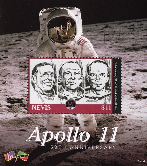 2019 $11 Apollo 11 50th Anniversary, Souvenir Sheet, Mint, Nevis