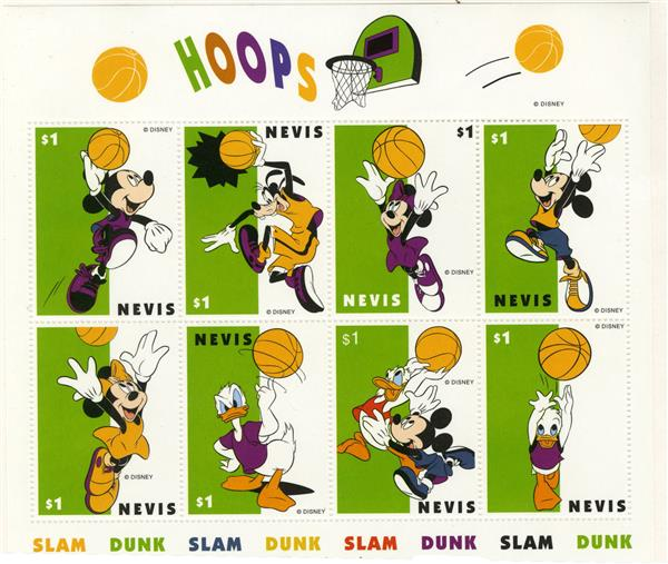 Nevis 1998 Slam Dunk Hoops, 8/sheetlet