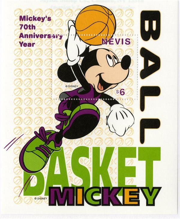 Nevis 1998 Mickey Slam Dunk, Mint S/S