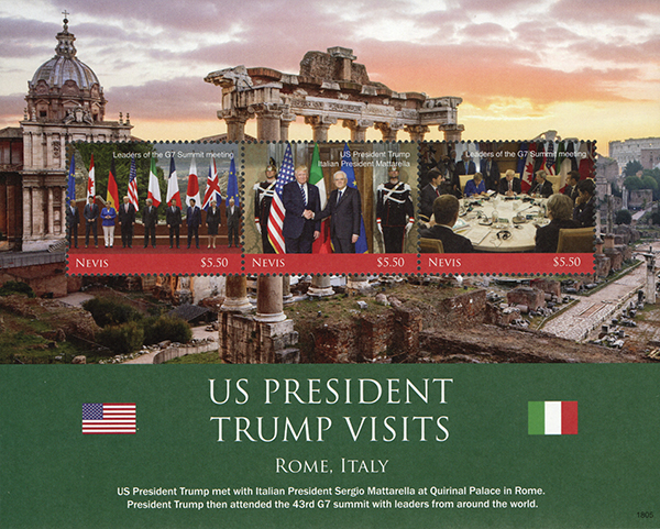 2018 President Trump Visits Rome, Italy, sheet of 3 stamps