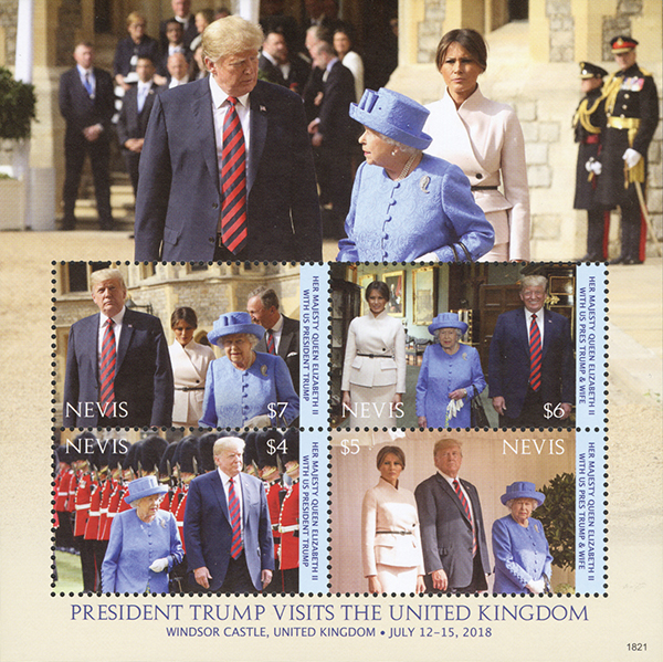 2018 President Trump Visits the United Kingdom, sheet of 4 stamps