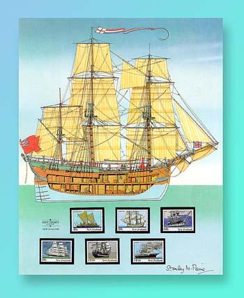 1990 New Zealand Ships Panel Set