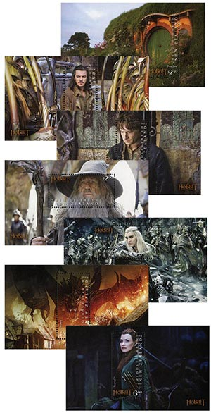 """2014 """"The Hobbit"""" Stamp Collection, Mint, Set of 7 Sheets, New Zealand"""