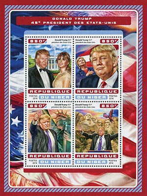 2016 45th President - Donald & Melania Trump, 4 stamps