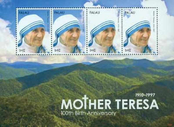 2010 Palau Mother Teresa 4v Mint