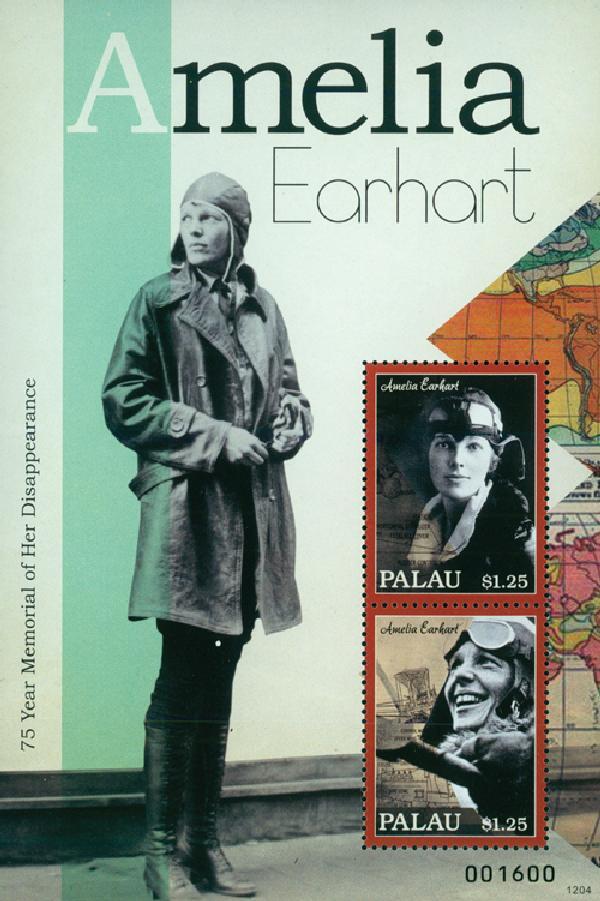 2012 Palau Amelia Earhart s/s of 2 Mint