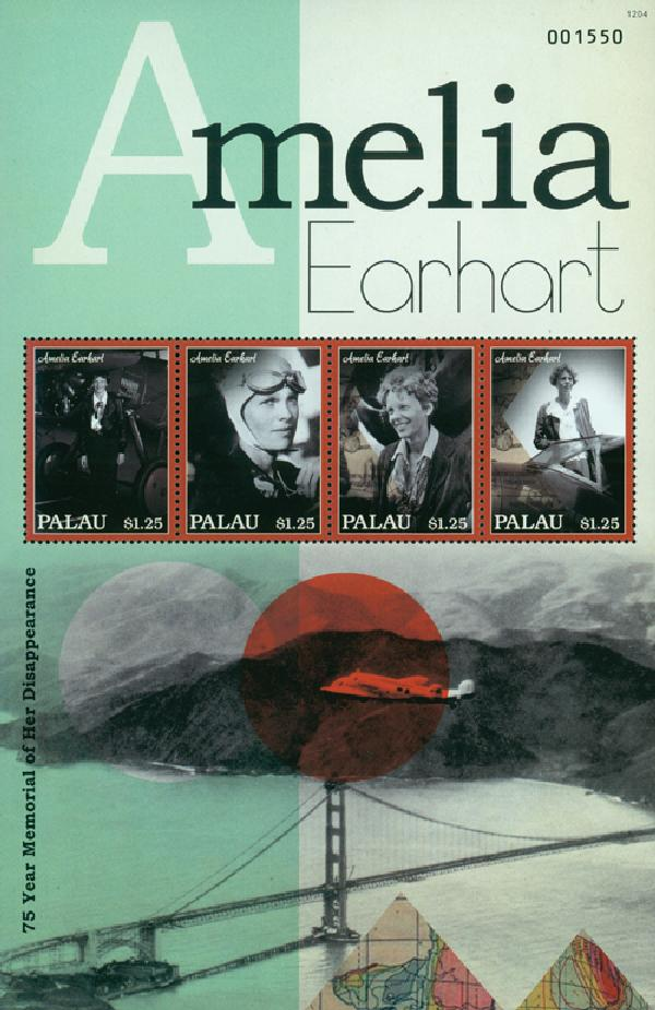 2012 Palau Amelia Earhart Sheet of 4 M