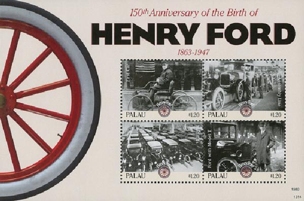 2013 Palau Henry Ford Sheet of 4