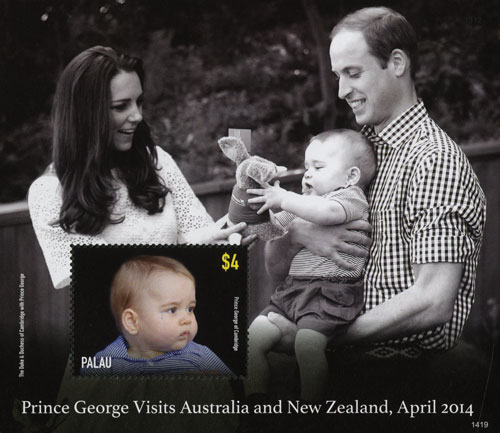 2014 Palau $4 Prince George in stripes