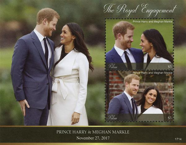 2017 $3 The Royal Engagement of Prince Harry and Meghan Markle souvenir sheet of 2 stamps