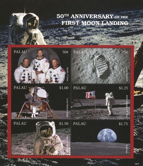 2018 50c 50th Anniversary of the First Moon Landing sheet of 6