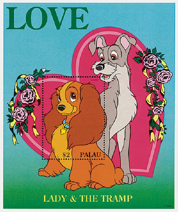 Palau 1996 Lady and the Tramp, Mint S/S