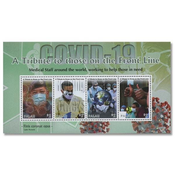 2020 $2 COVID-19: A Tribute to Front Line Workers, Mint, Sheet of 4 Stamps, Palau