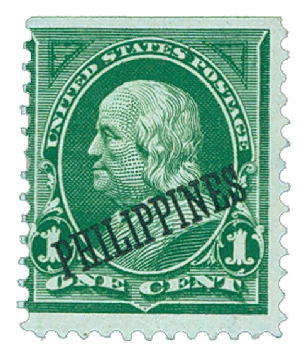 1899 1c Philippines, yellow green, double-line watermark USPS