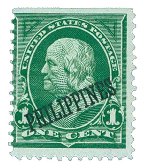 1899 1c Philippines, yellow green, double-line watermark USPS