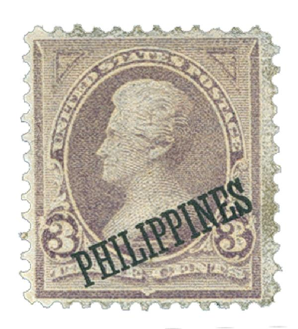 1899 3c Philippines, purple, double-line watermark USPS