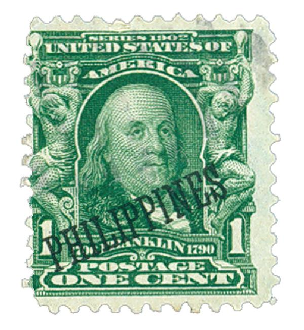 1903-04 1c Philippines, blue green, US #'s 300-310