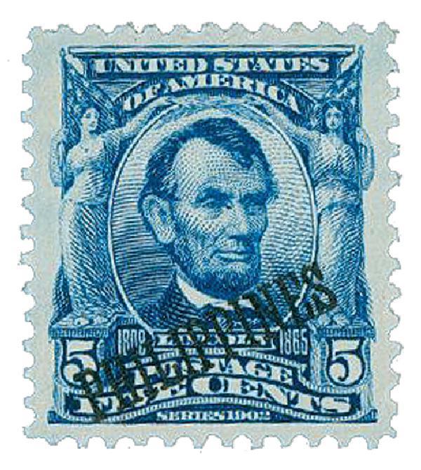 1903-04 5c Philippines, blue, US #s 300-310