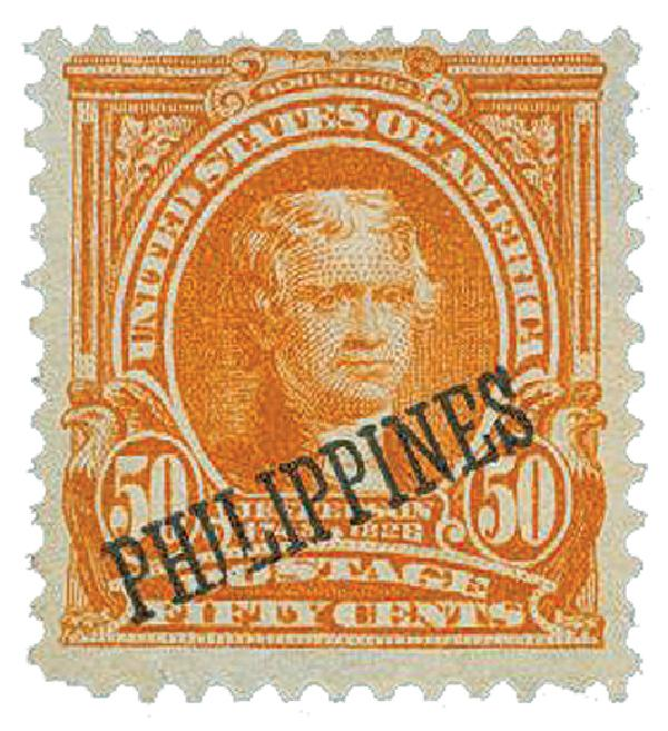 1903-04 50c Philippines, orange, US #'s 300-310