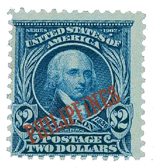 1903-04 $2 Philippines, dark blue, US #'s 311, 312, 313