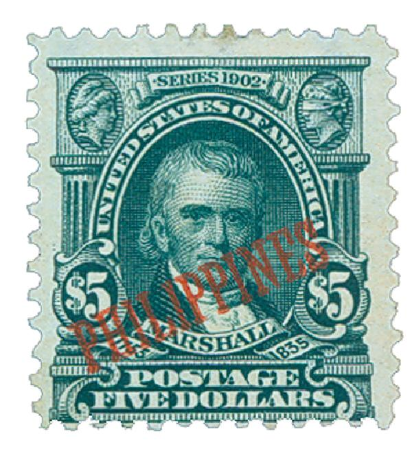 1903-04 $5 Philippines, dark green, US #'s 311, 312, 313