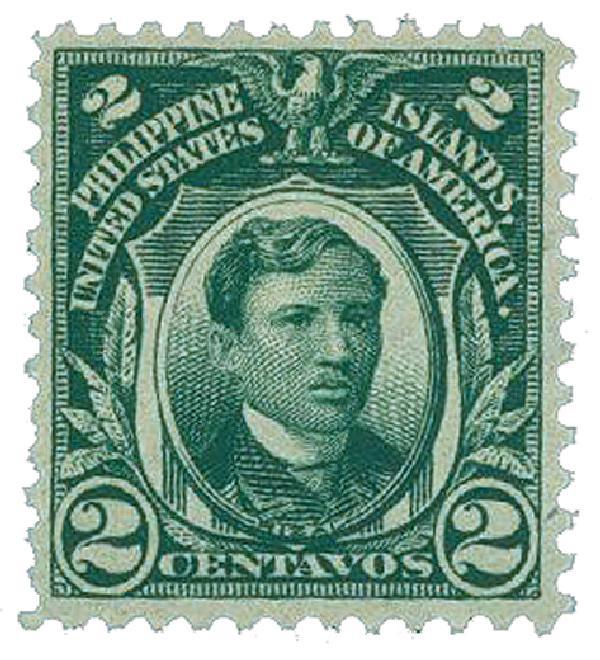 1906 2c Philippines, deep green, double-line watermark, perf 12