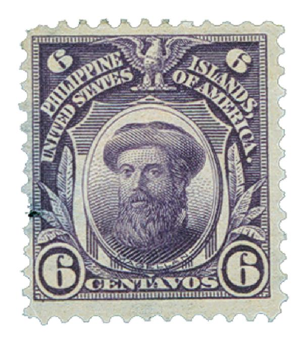 1906 6c Philippines, violet, double-line watermark, perf 12