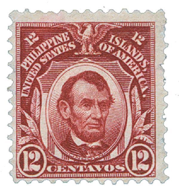 1906 12c Philippines, brown lake, double-line watermark,perf 12
