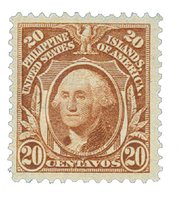 1906 20c Philippines, orange brown, double-line watermark, perf 12