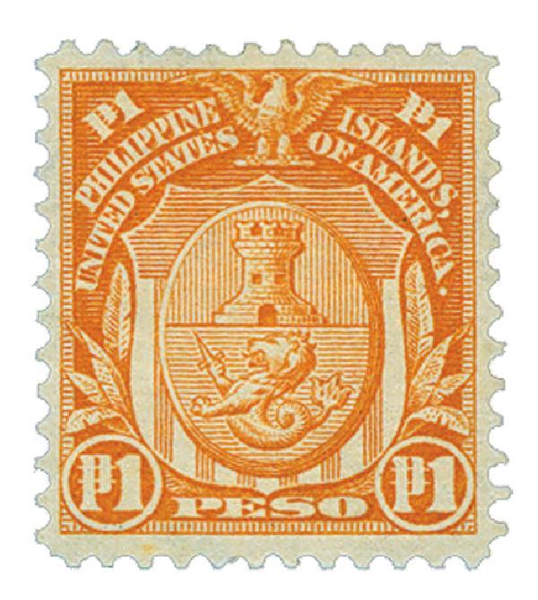 1906 1p Philippines, orange, double-line watermark, perf 12