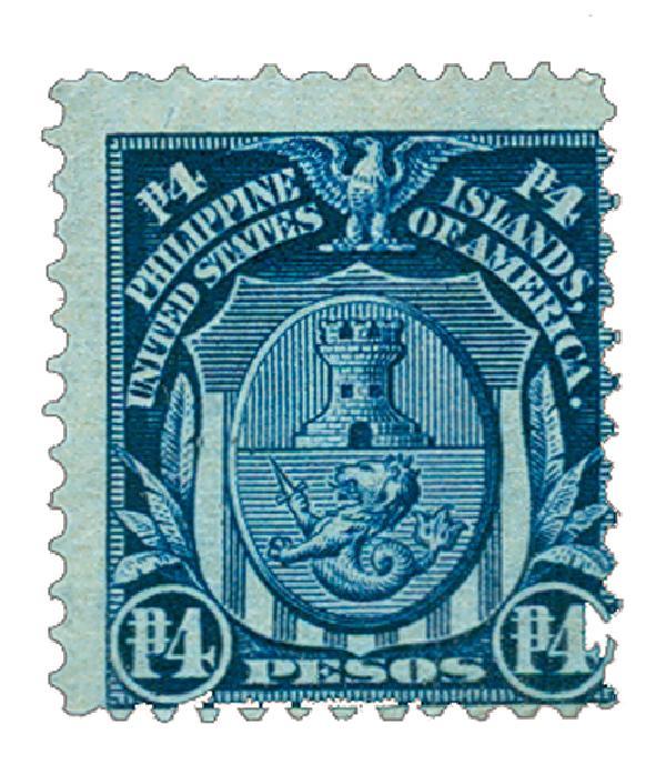 1906 4p Philippines, dark blue, double-line watermark, perf 12