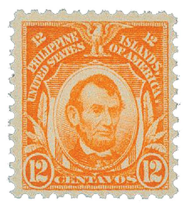 1909 12c Philippines, red orange, double-line watermark, perf 12